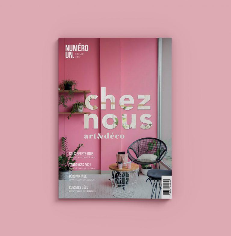 Création d'une couverture de magazine : Chez nous